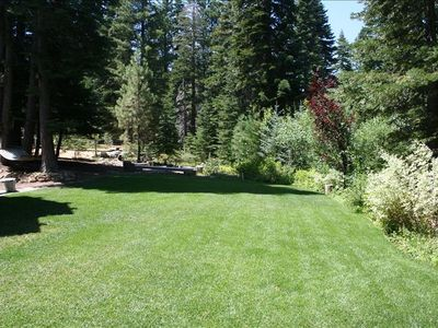 Expansive backyard area for summer lawn games