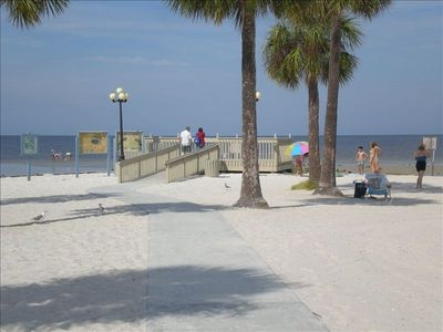Beautiful white sand beaches at the public park just a short walk down the road