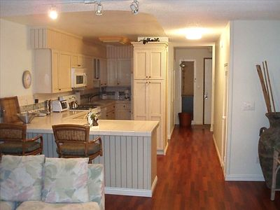 Kitchen from living room. Free wireless Internet & long distance (Canada & US)
