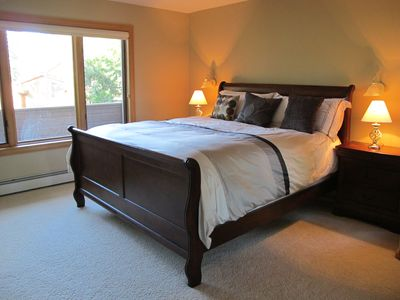 Bedroom with beautiful Cal King sleigh bed!