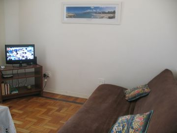 """Living Room"" with TV and sofa bed"
