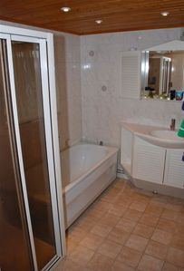 Bathroom with bathtub & shower