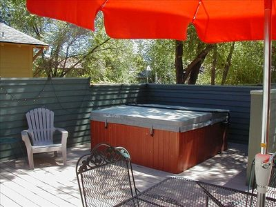 Private back deck and hot tub!