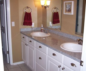 Upstairs Bath w/ Dual sinks and Seperate Sink and Bath Area