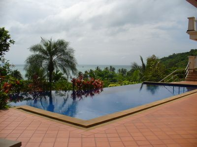 Malacca Straits beyond pool from entertaining area