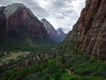 View of Zion Canyon taken from Angel's Landing in Zion National Park.