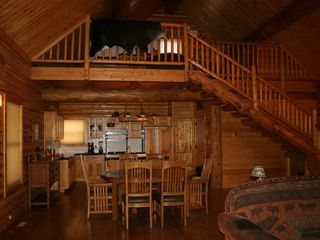 Farmington cabin photo - Dining, kitchen & loft upstairs.