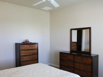 Master Bedroom with Ceiling Fan, walk in closet, enjoy nice view from Master!