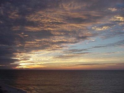 Sunrise on our balcony overlooking the Gulf