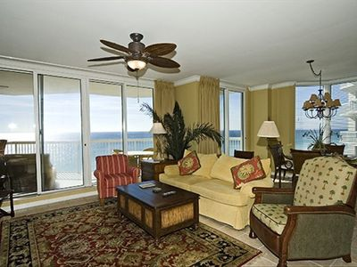Silver Beach Towers Resort condo rental - Large Living Room with great views of the Gulf & open to dinning room & kitchen.