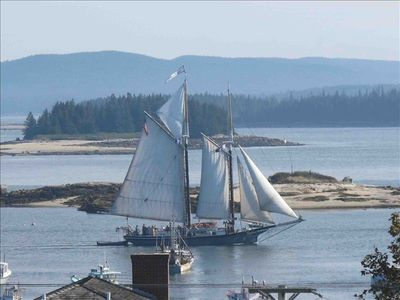 One of the many schooners that grace the harbor throughout the Summer season.