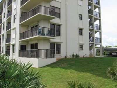 Ormond Beach condo rental - Exterior of our first floor end unit, parking in front, how convenient is that!