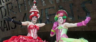 Two 'performers' outside the Opera House Cardiff Bay