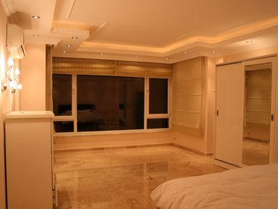 Alanya villa rental - Your master bedroom at night with lovely lighting