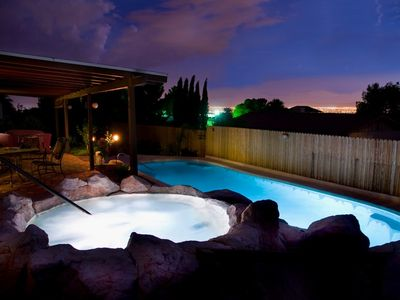 Las Vegas villa rental - Back Yard Pool, Spa, Waterfall And Patio With Full City View