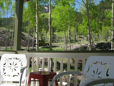 Relax in comfortable chairs on the porch and enjoy in cool mountain breezes.