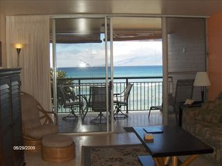 Honokowai condo photo - Ocean view vacation rental living room opens to your own private lanai.