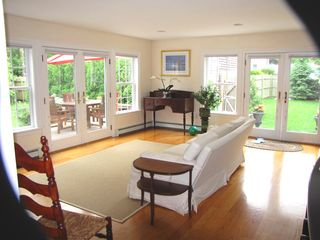 Oak Bluffs house photo - Open Living room with 2 sets of French doors to 2 decks