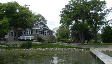 Lake Geneva estate rental - House 20 feet from waters edge with rear patio and fire pit