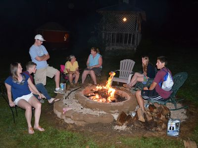 Families enjoy evening fires at Banner Haven