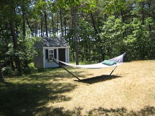 Wellfleet house photo - Backyard with LL Bean hammock
