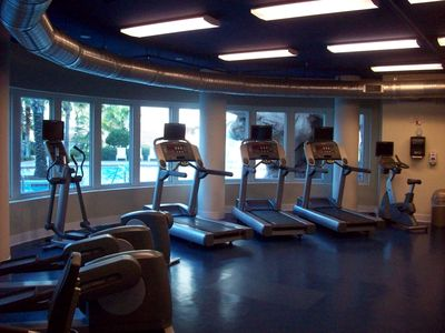 Well Equipt Fitness Center overlooking the Zero Entry Pool!
