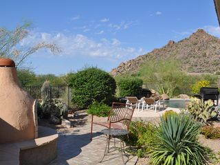 Scottsdale Troon house photo - West view of Kiva Fireplace, pool area and mountains - relax!