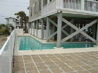Garden City Beach house photo - Large private oceanfront heated pool-40x8x30x10 ft