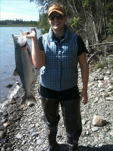 Red Salmon caught from the banks of the Kenai River.