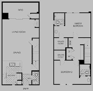 Grayhawk 2 Story Townhome Floorplan - Ground Floor Entry w/2 Bdrm/2.5 Bath