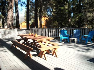 Big Bear Lake house photo - Deck opposite end - Mtn VIEWS - Hot tub level to deck behind lattice fence