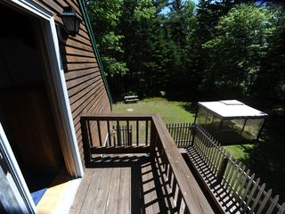 Acadia National Park cottage photo - The gazebo and main deck as seen from the master bedroom's balcony