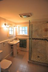 Oak Bluffs house photo - Remodeled master bath. All new fixtures, wainscot paneling, & glassed in shower