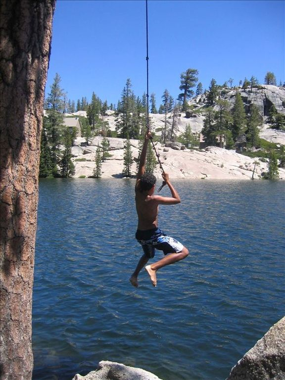 Rope Swing at Lake Kirkwood in the Summer