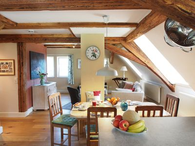Historic timbered house with panoramic sea view, 200 m from the lake,top equipment - Top floor with loft