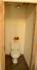 The toilet area in the upstairs loft bedroom