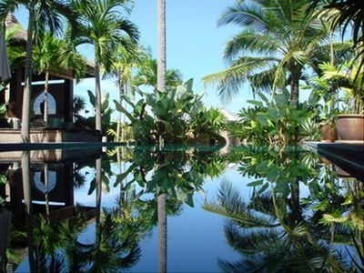The Pool At Daytime (The Sun Comes up over the Coconut Trees)