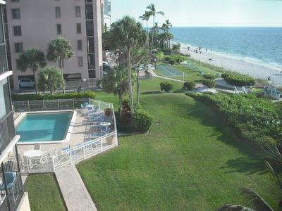 View of Private Pool and Beach from balcony