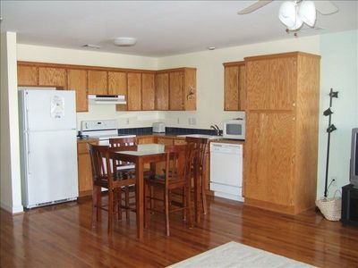 Fully equipped kitchen.  Dish/hand soap provided.  Also washer/dryer & detergent