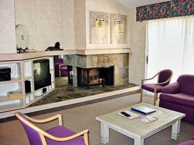 Living Room with Fireplace at the Club Lakeridge Resort
