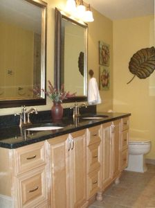 Master Bath Double Sinks Stand Alone Shower