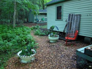 Stanfordville cottage photo - outdoor shower area with shed porch in background