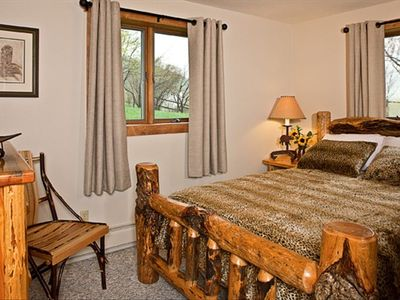 Bozeman farmhouse rental - Queen bedroom, valley views, full closet, cosmetic mirror