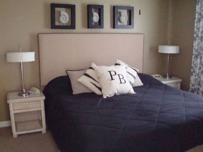 King bed, large flat screen TV with DVD and private bath
