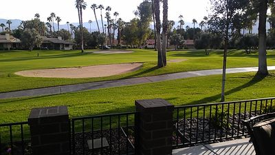 Palm Desert condo rental - View of the golf course & mountains from the south facing patio.