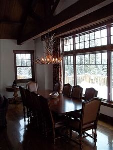 Dining area in Great room overlooking Glacier Park and Whitefish Mtn ski resort.
