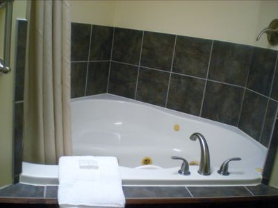 Relax in our jetted tub in Cabin Three.