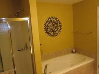Osage Beach condo photo - Master bath with shower and jacuzzi tub, double sink