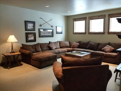 Lower Level Living Room with pull out sofa, flat screen TV