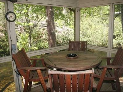 Screened deck overlooking Big Snowbird Creek.